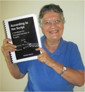 Pauline Bunce with her new book, According to the Script