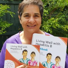 Elene Claire with the new resource, Living Well with Hepatitis B