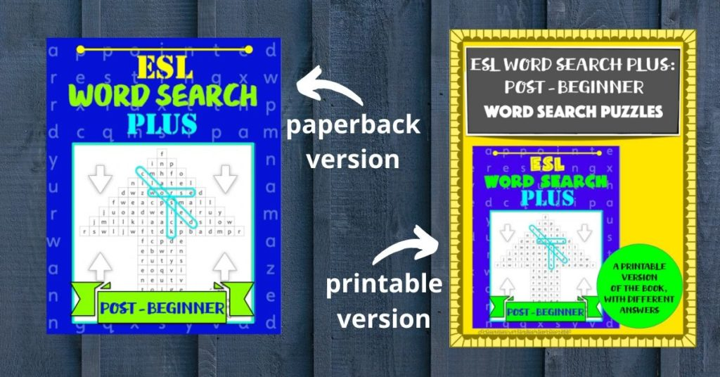 Two versions of ESL word search plus