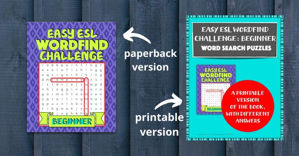 Easy ESL Wordfind Challenge in both formats, Teachers Pay Teachers and  from Amazon.