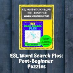 Cover of the Teachers Pay Teachers version of ESL Word Search Plus